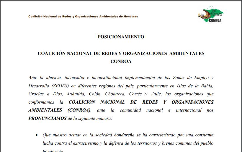 Posicionamiento de la CONROA sobre las ZEDEs
